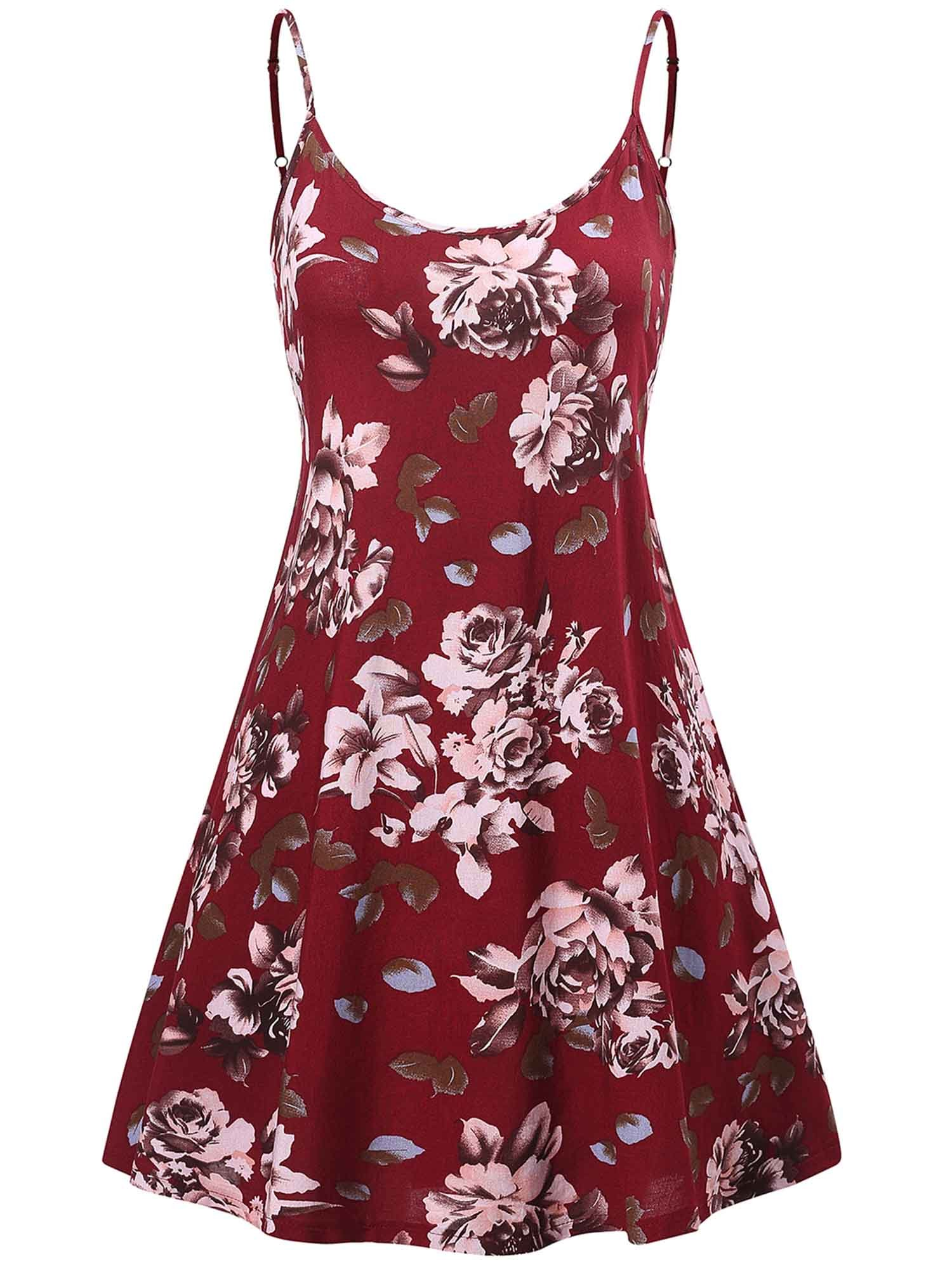 MSBASIC Dress for Women, Strappy Floral Sleeveless Flowvy Dress Red Floral XL