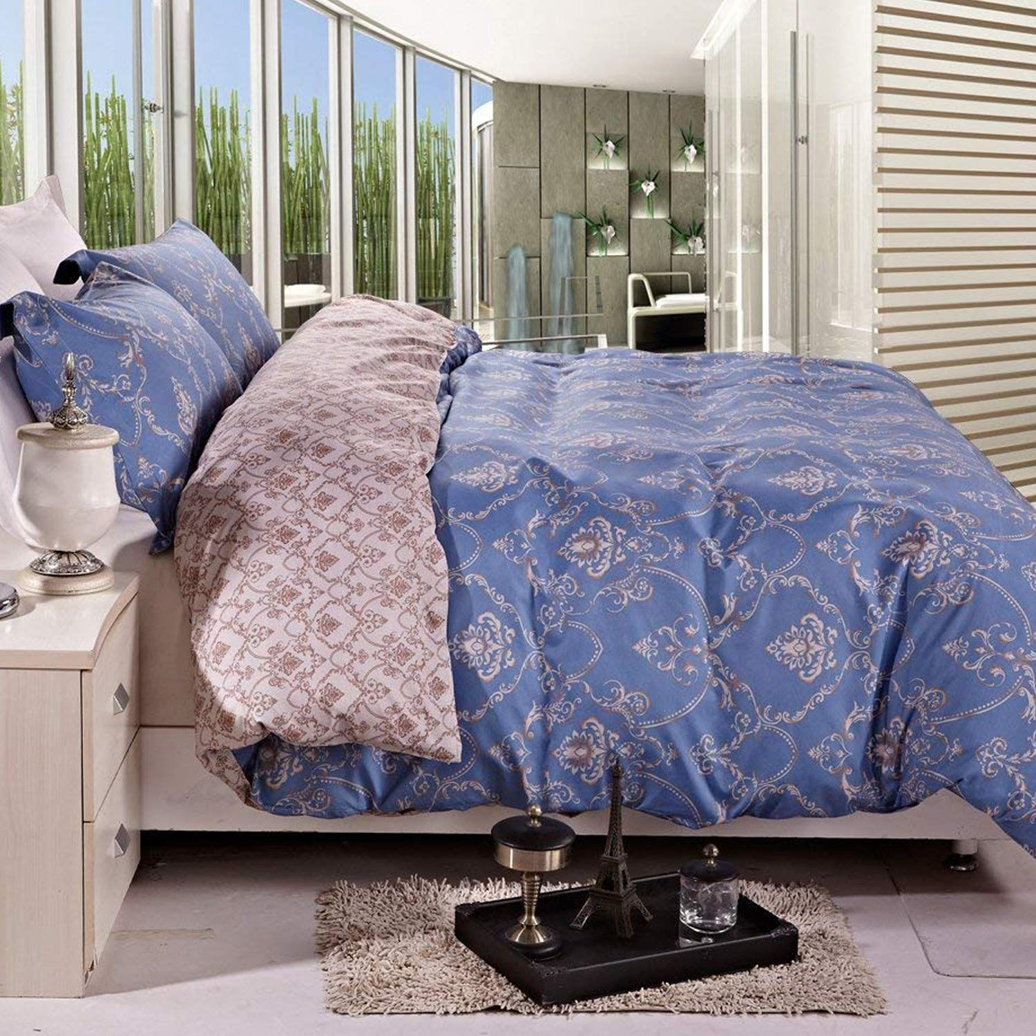 NTBAY 3 Pieces Duvet Cover Set Printed Microfiber Reversible Design(Full/Queen, Cobalt Blue)