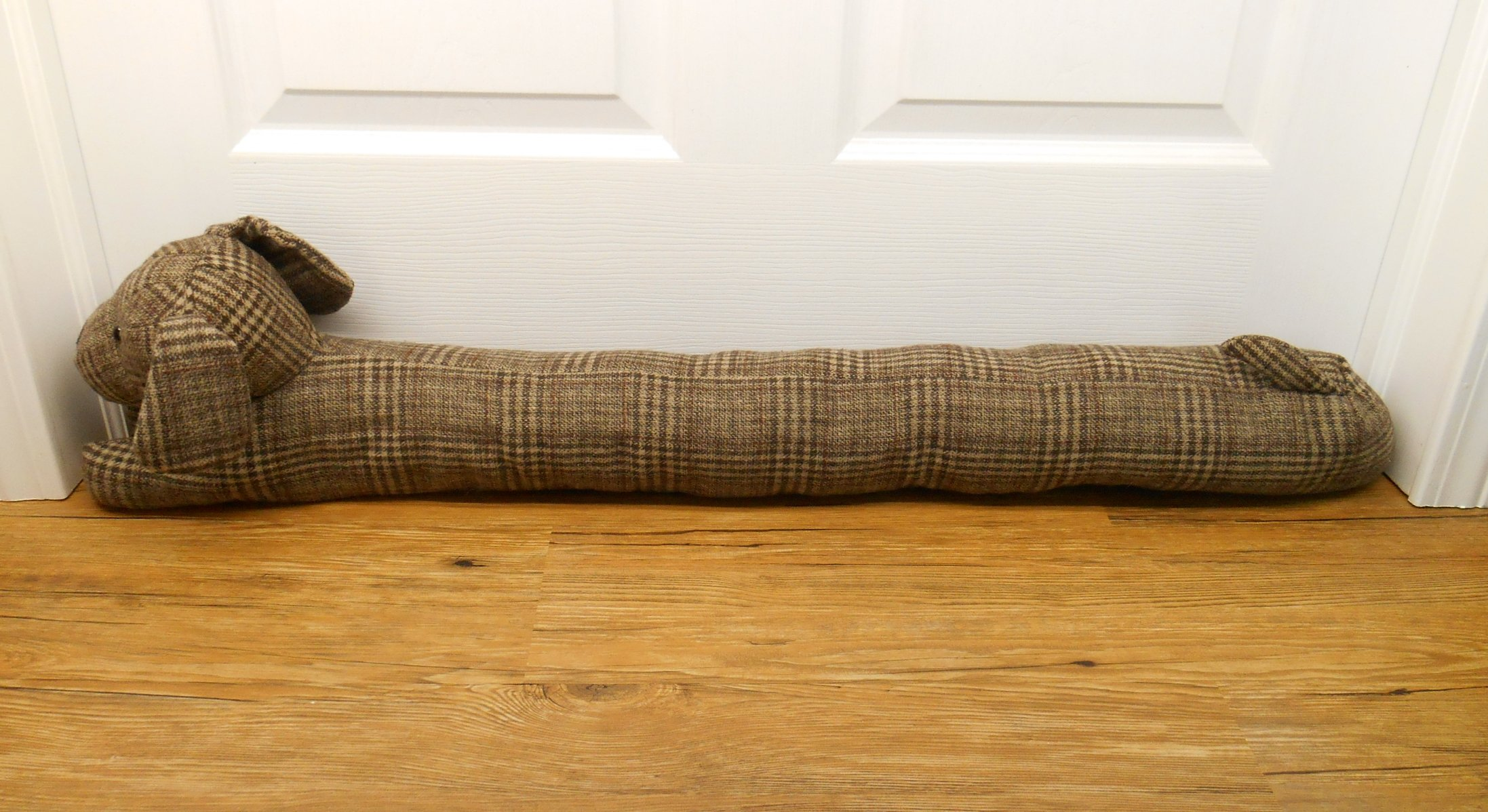 Heavy Duty Animal Draft Blocker - Fits up to 36'' Doors and Windows. Save Energy. Keep the Cold Out! (Cocoa the Brown Plaid Dog)
