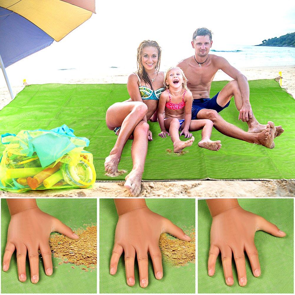 Tacobear Alfombras de Playa Anti-Arena 200X150cm Alfombra sin Arena Beach Mat Manta de Picnic Resistente al Agua para la Playa Picnic Camping Al Aire Libre con Bolsa de Playa y 4 Ancla