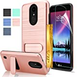 LG K20 V Case, LG K20 Plus / LG Harmony / LG K10 2017 / LG Grace Case with HD Screen Protector AnoKe[Card Slots Holder][Not Wallet] Kickstand Hard Plastic PC Shockproof Case for LG LV5 KC1 Rose Gold
