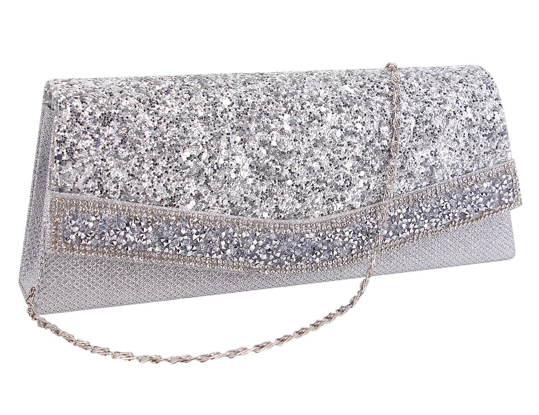 Gabrine Womens Evening Shoulder Bag Handbag Clutch Purse Shiny Sequins Rhinestone for Wedding Prom Party(Silver)