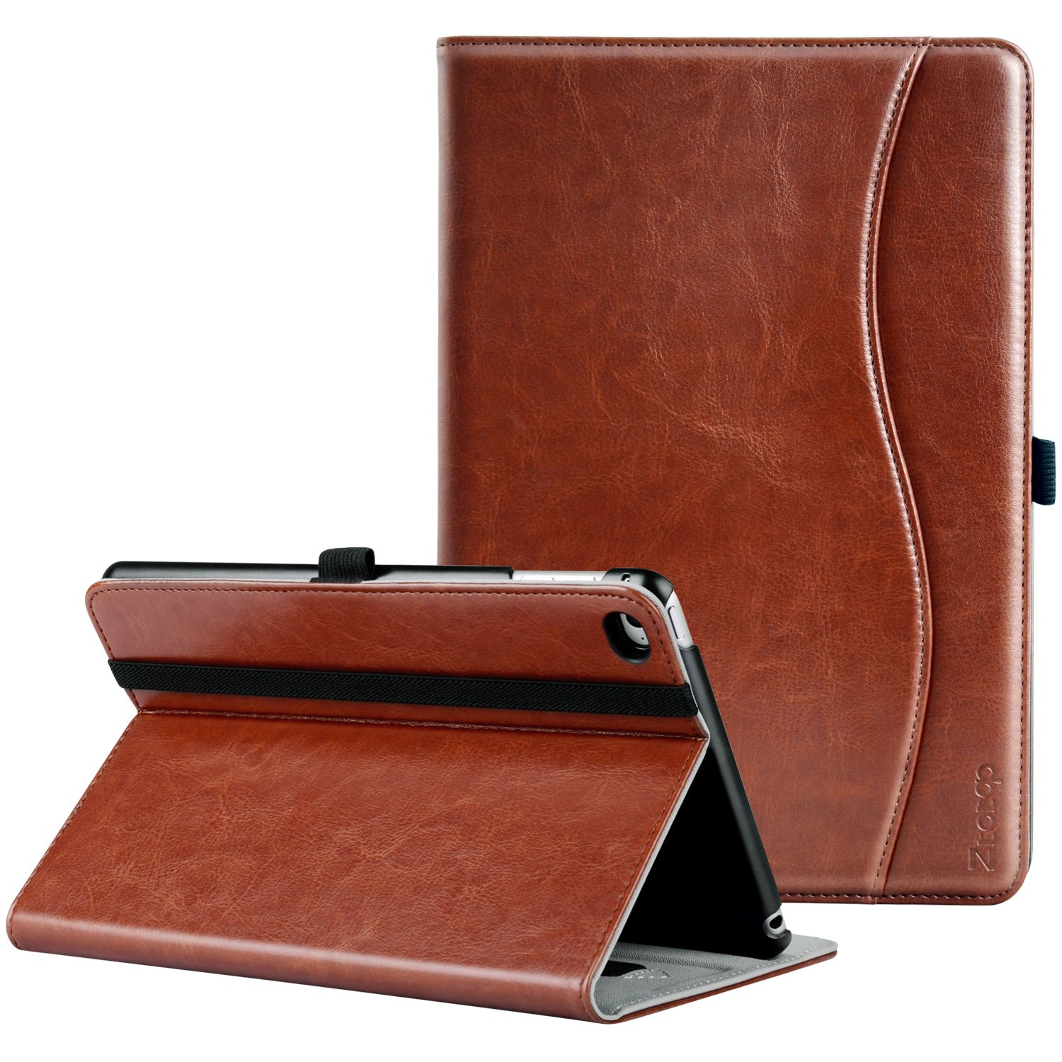 Ztotop iPad Mini 4 Case, Premium Leather Folio Stand Protective Case Smart Cover with Multi-Angle Viewing, Paperwork Card Pocket, Functional Elastic Strap for iPad Mini 4 - Brown