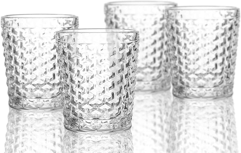 Elle Decor Bistro Weave 4 Pc Set Old Fashion, Clear-Glass Elegant Barware and Drinkware, Dishwasher Safe, 10.8 Oz