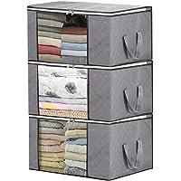 Jasinber Organizador de bolsa de almacenamiento plegable para ropa, mantas, armarios, habitaciones (Paquete de 3, gris)