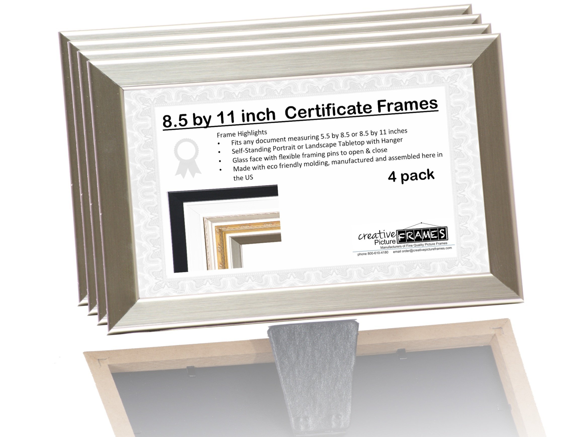 8.5x5.5 or 5.5x8.5 inch Professional Stainless Steel Business License Certificate Frame, Self Standing Portrait or Landscape with Wall Hanger (4 Pack)