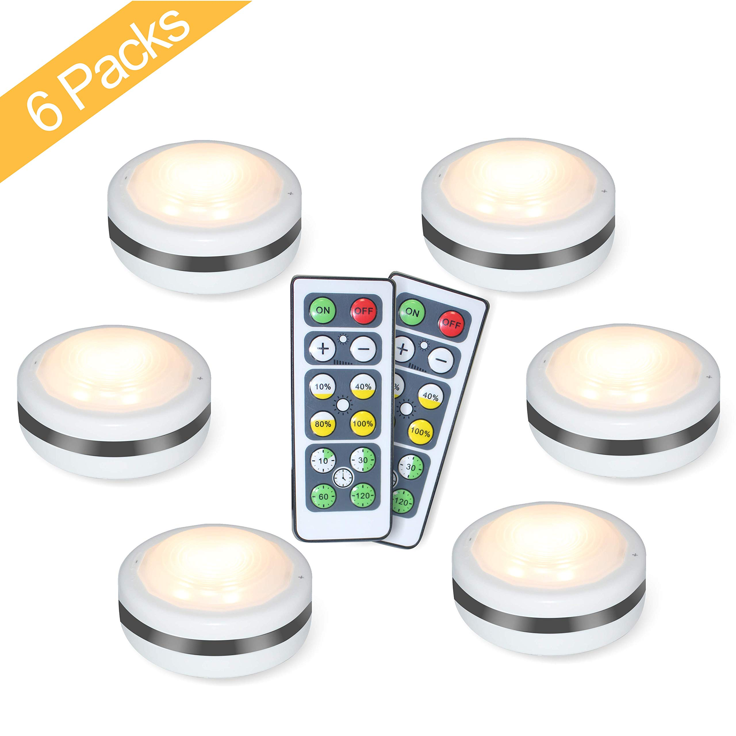 Puck Lights With Remote, Starxing Wireless Led Puck Lights Battery Operated, Led Puck Lights With Remote Control, Led Under Cabinet Lighting, Dimmable Closet Light, Battery Powered, 4000K Natural Whit by Starxing (Image #1)