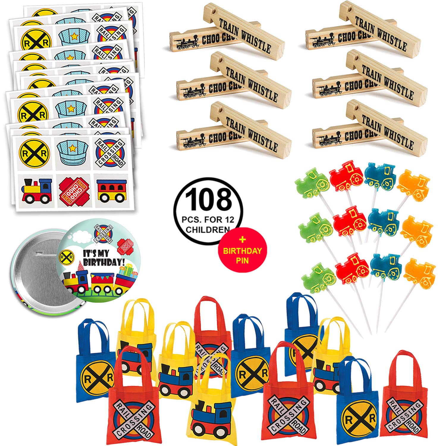 Train Party Favors Party Pack Bundle Includes Favor Bags and Fun Favors for 12