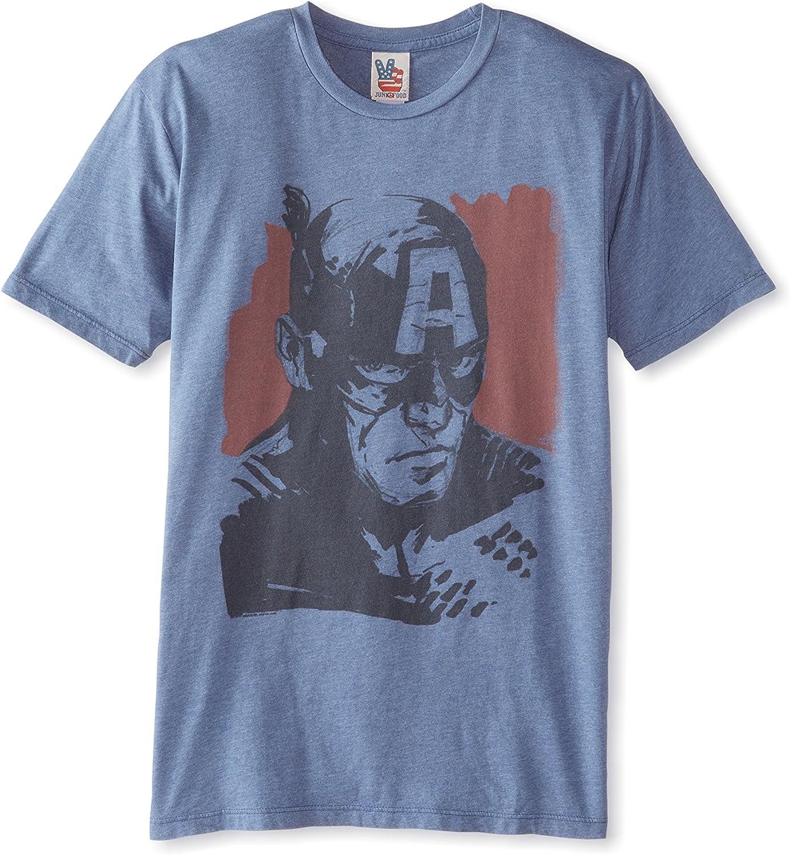 Junk Food Captain America Face Adult Slate T-Shirt