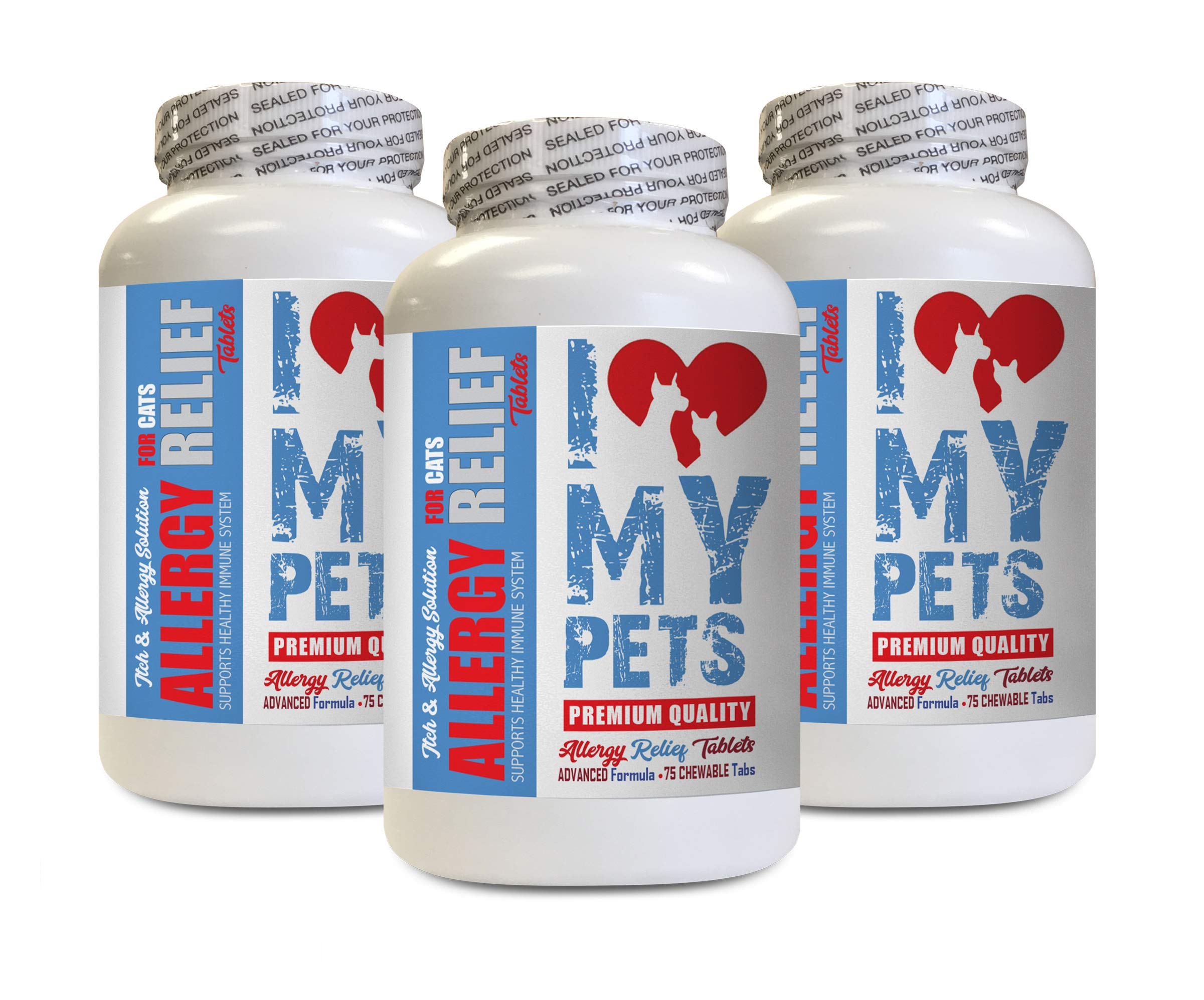 I LOVE MY PETS cat Skin and Itch - Cats Allergy Relief - Itch Relief - Premium Supplement - Treats - cat Skin and Itch Relief - 225 Tablets (3 Bottles) by I LOVE MY PETS