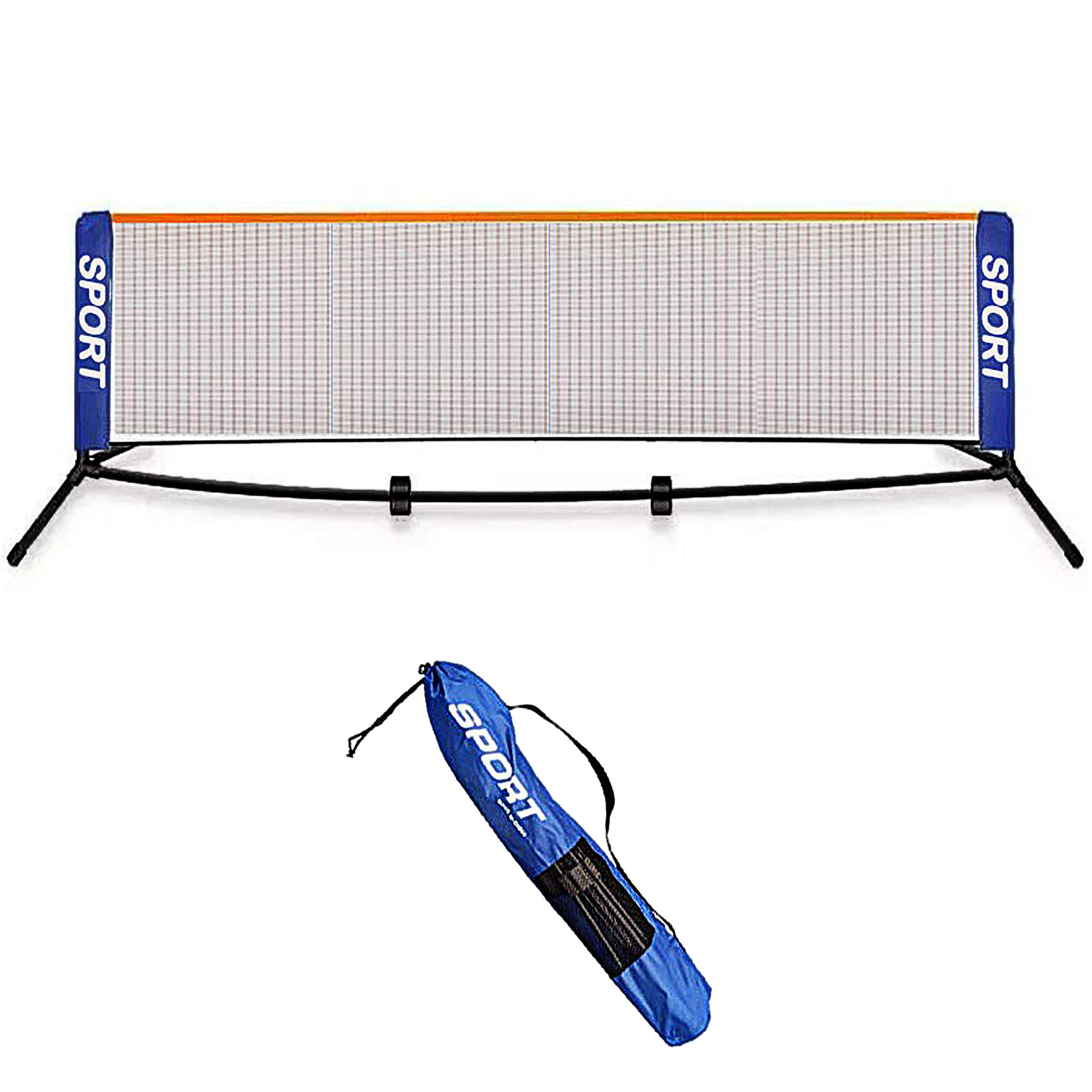 AKOZLIN Portable Badminton Net Set - 3meter Net for Tennis, Soccer Tennis, Pickleball, Kids Volleyball - Easy Setup Nylon Sports Net with Poles - for Indoor or Outdoor Court, Beach, Driveway
