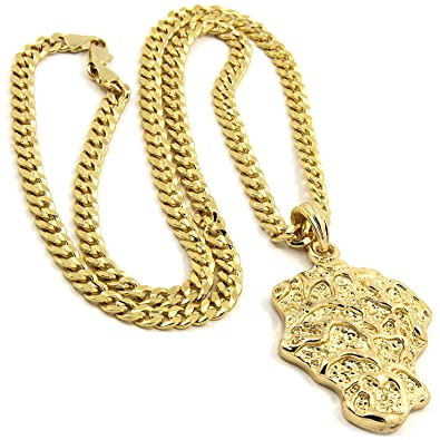 0c20e87ace507 Mens Gold Plated Hip-Hop Gold Nugget Bar Pendant 5mm 24