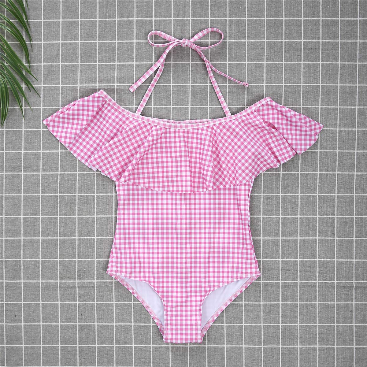 Mommy and Me One-Piece Swimsuit Family Matching Pink Check Flounce Collar Swimwear Halter Bathing Suit