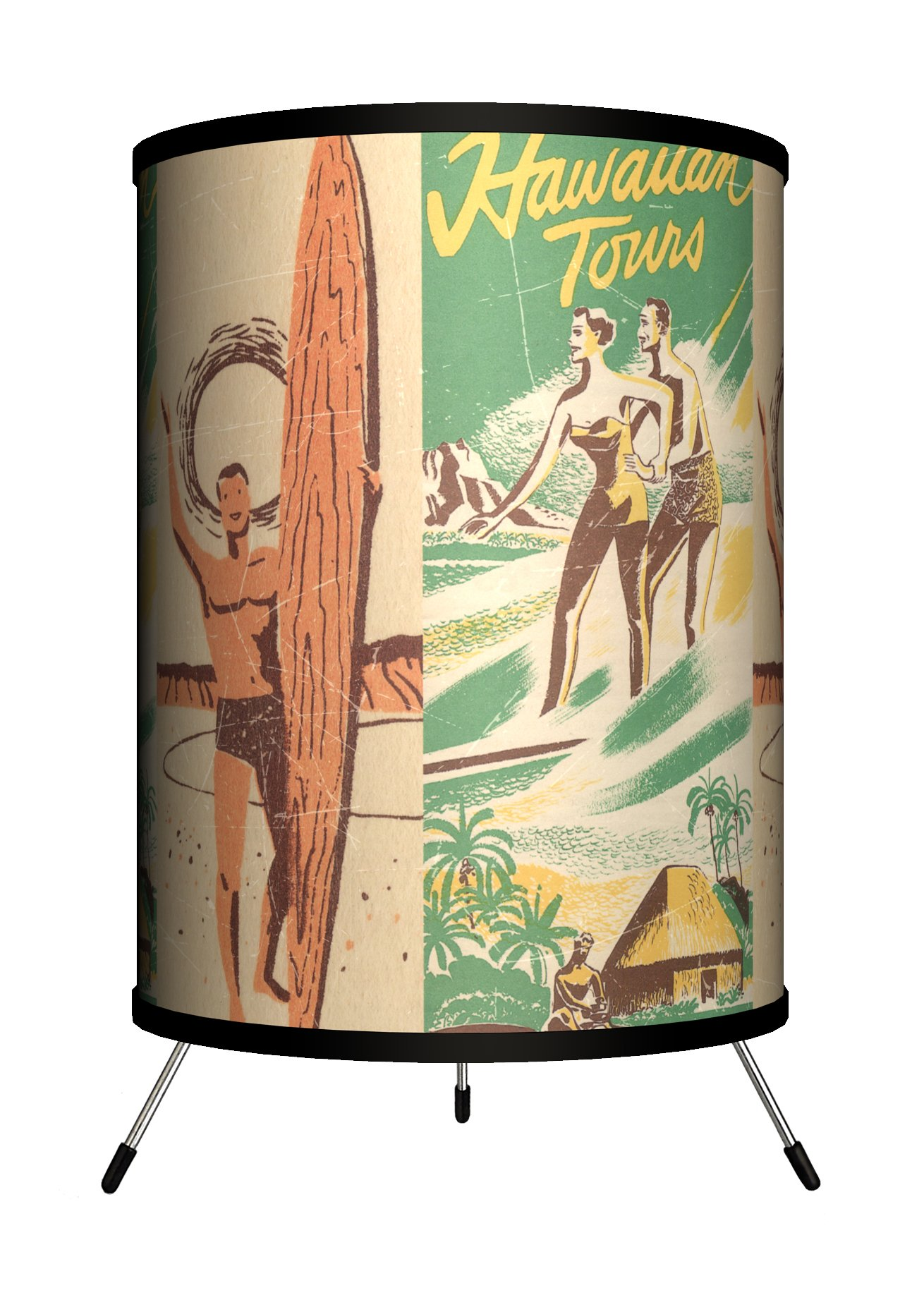 Lamp-In-A-Box TRI-SPO-SURTO Sports - Surfing Hawaiian Tours Tripod Lamp, 8'' x 8'' x 14''