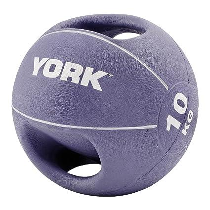 York Fitness - Balón medicinal, doble agarre, 10 kg: Amazon.es ...