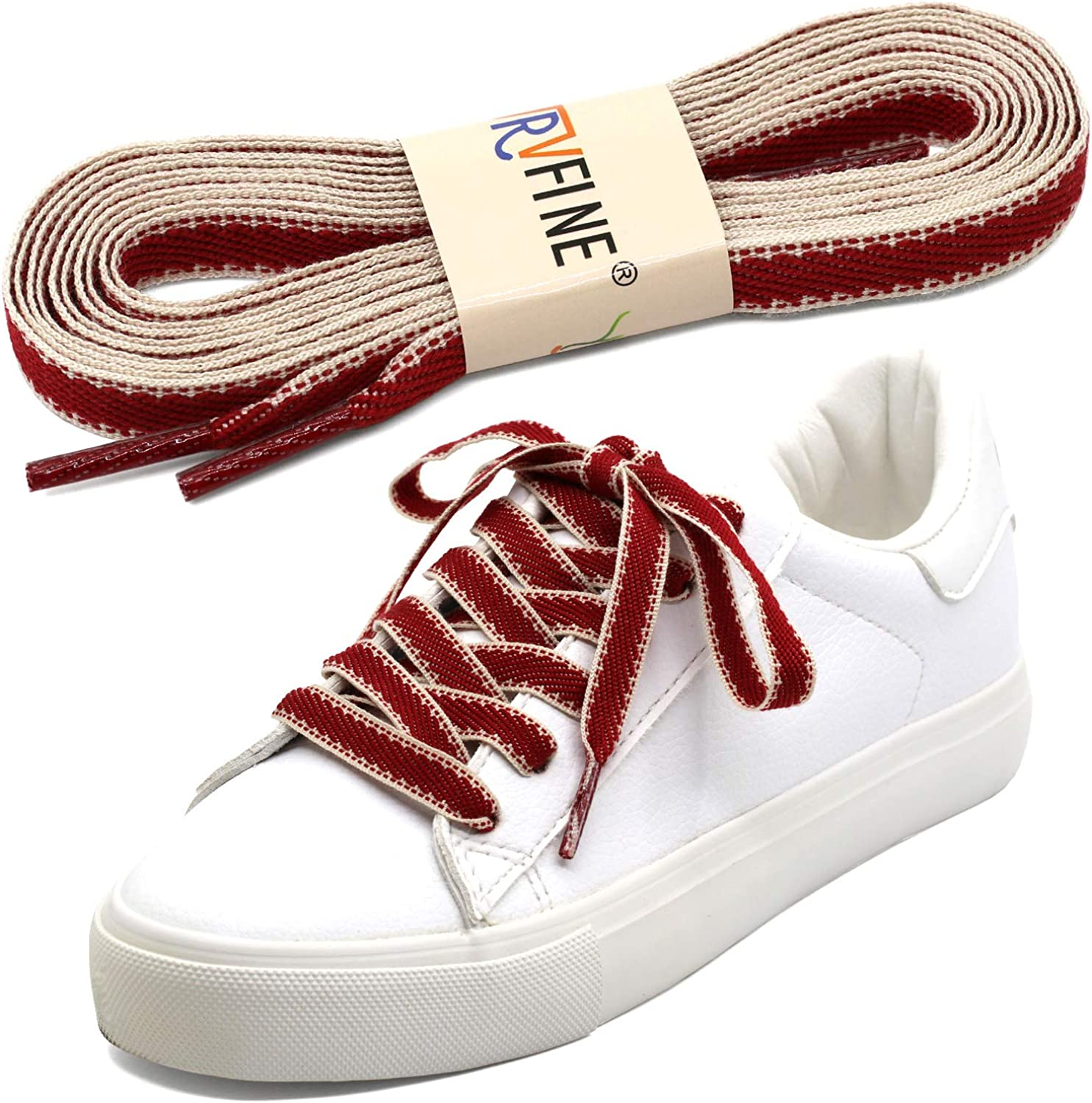 """52/"""" Thick Sneakers Athletic Shoelace String /""""Red//Black/"""" Shoelaces 1,2,12 Pairs"""