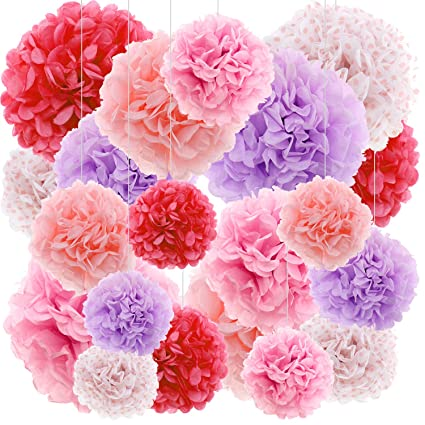 Pink Tissue Paper Flowers Pom Pom Hanging Party Decorations For Birthday Baby Shower Wedding Engagement 20ct