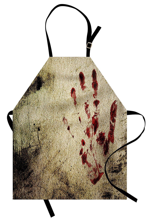 PMNADOU ホラーハウスエプロン グランジダーティウォール 血まみれのハンドプリント マーキーパームトレース ビクティム バイオレンス プリント ユニセックス キッチン ビブエプロン 調節可能なネック付き 料理 ベイキング ガーデニング レッド ベージュ   B07D334N8F