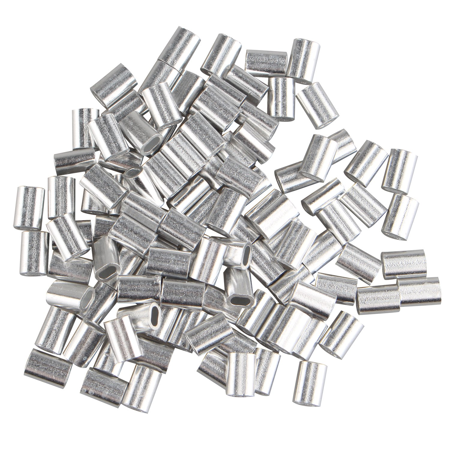 100 pcs Aluminum Crimping Loop Sleeve Clips Oval Shaped for 1.5mm Cable Wire Rope Silver Tone FUSD