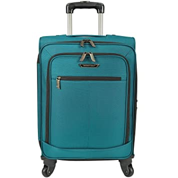 Peacock Green Lightweight Wheeled Briefcase Polyester Expandable Zipper Push
