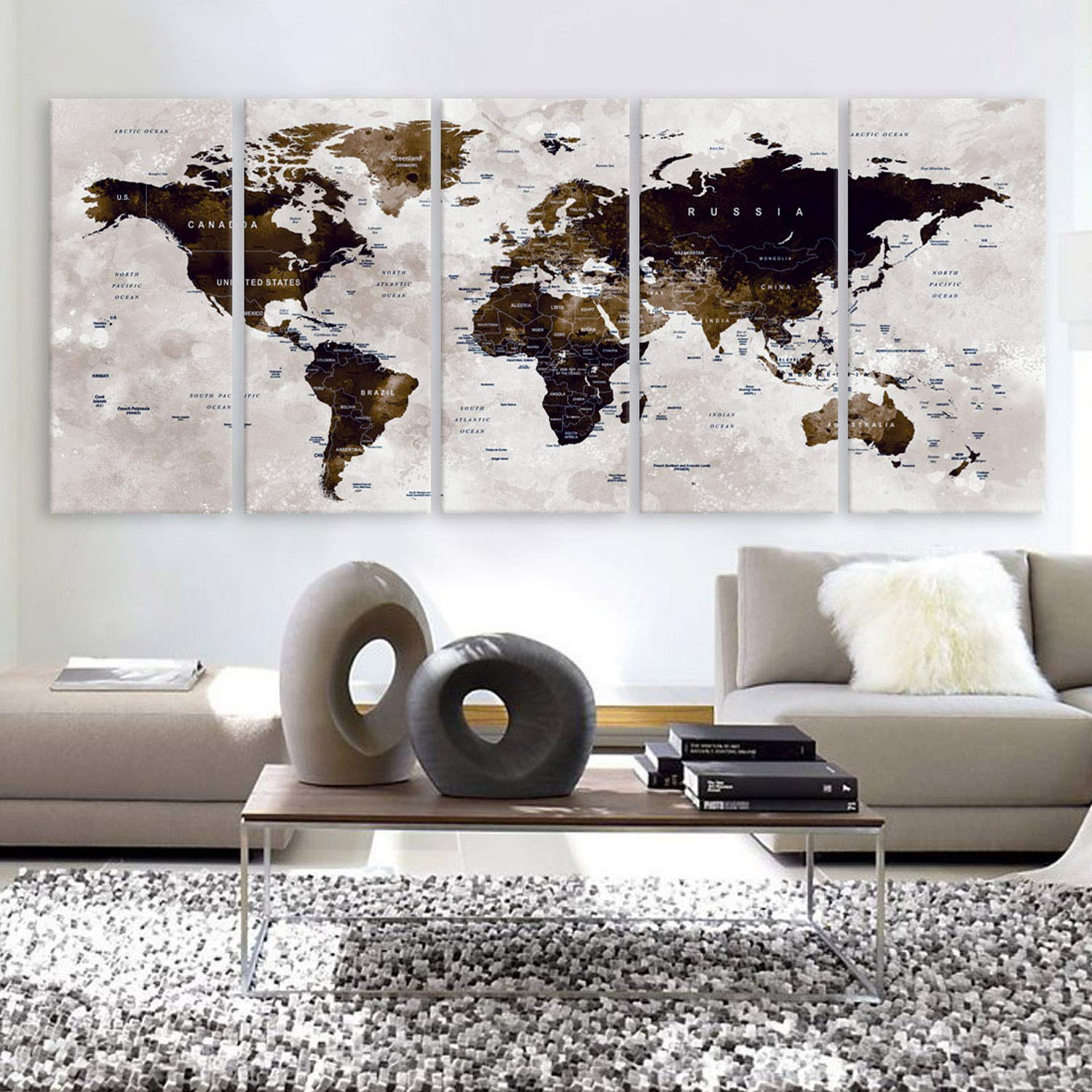 """Original by BoxColors XLARGE 30""""x 70"""" 5 Panels 30""""x14"""" Ea Art Canvas Print Watercolor Map World Countries Cities Push Pin Travel Wall color Brown beige decor Home interior (framed 1.5"""" depth)"""