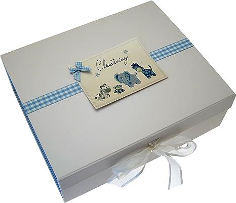 White Cotton Cards - Caja de recuerdos para el bautizo (A4), diseño con texto