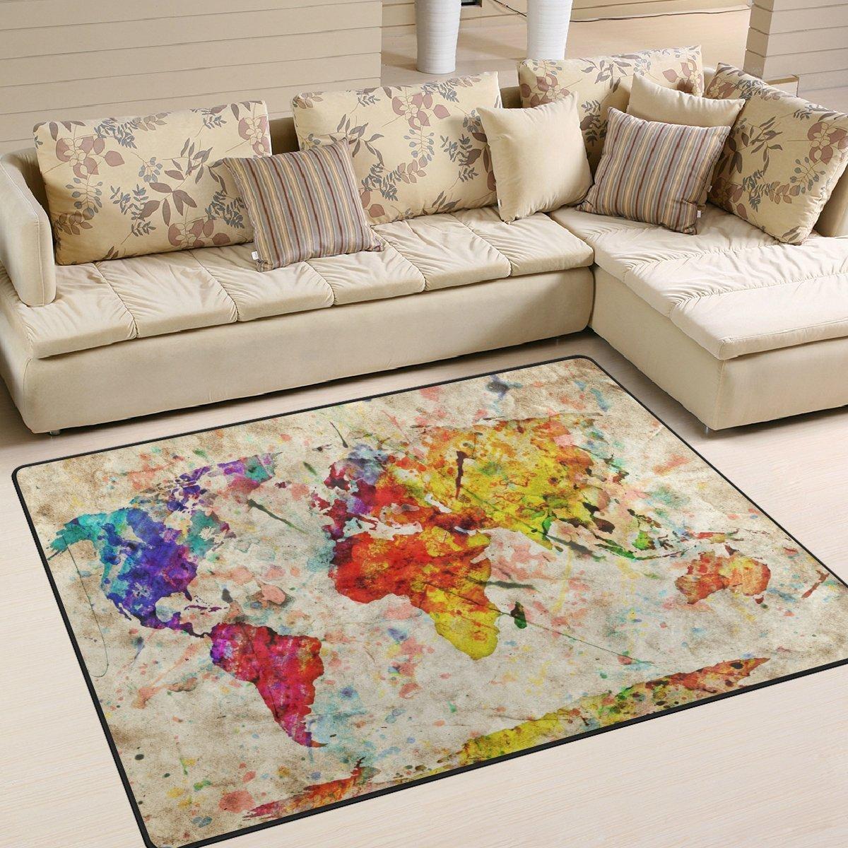 YZGO Vintage World Map Colorful Paint - Kids Children Area Rugs Non-Slip Floor Mat Resting Area Doormats
