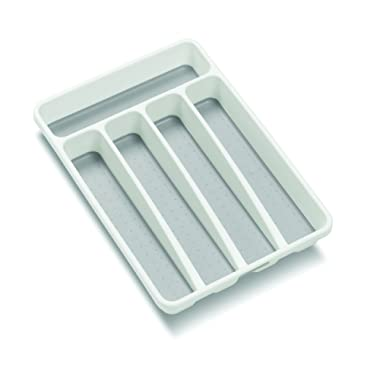 madesmart Classic Mini Silverware Tray - White | CLASSIC COLLECTION | 5-Compartments | Kitchen Organizer |Soft-grip Lining and Non-slip Rubber Feet | BPA-Free