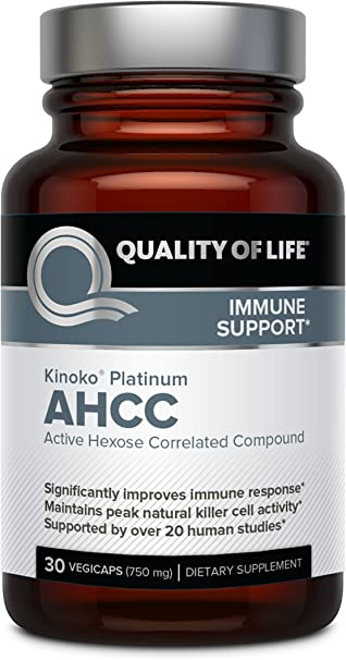 Premium Kinoko Platinum AHCC Supplement – 750mg of AHCC per Capsule – Supports Immune Health, Liver Function, Maintains Natural Killer Cell Activity – 30 Veggie Capsules