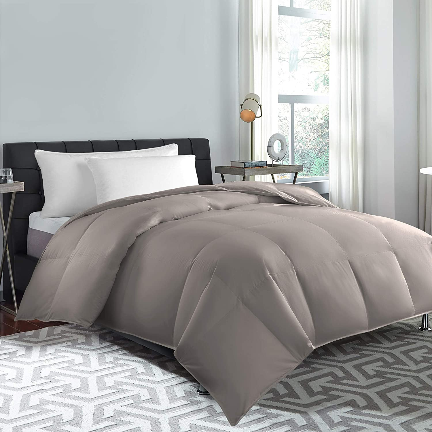 Cannon Bedding Duvet Insert Blue Ridge Home 100% Cotton Natural Down and Feather Filling Hypoallergenic All seasons Comforter, KING, Taupe