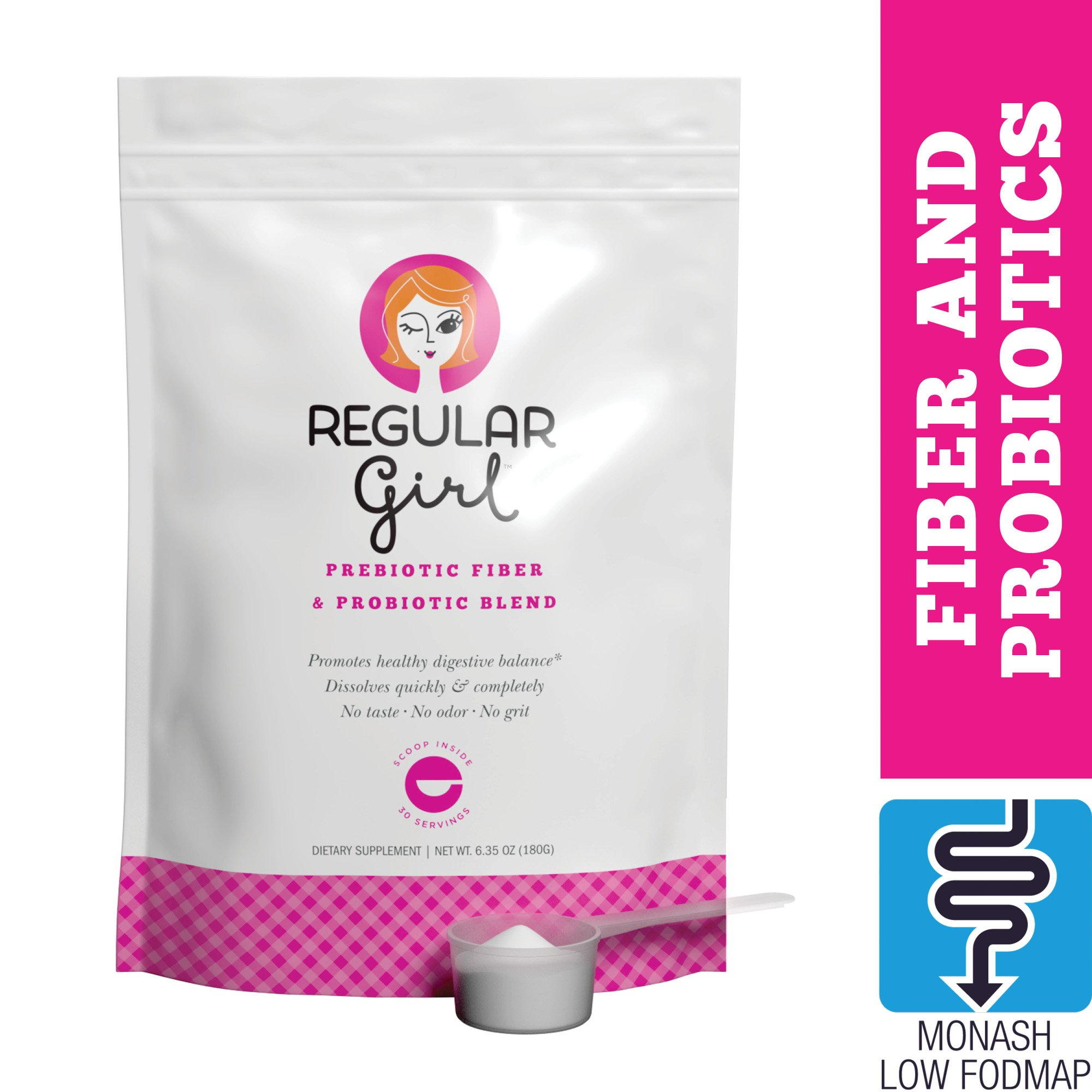 Tomorrow's Nutrition - Regular Girl, Powder, Low FODMAP Prebiotic Fiber and Probiotic Support for Comfortable Digestion and Immunity, 30 Servings