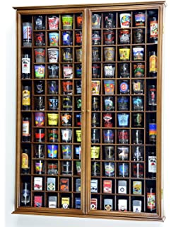 108 Shot Glass Shooter Display Case Holder Cabinet Wall Rack W/ UV  Protection  Walnut