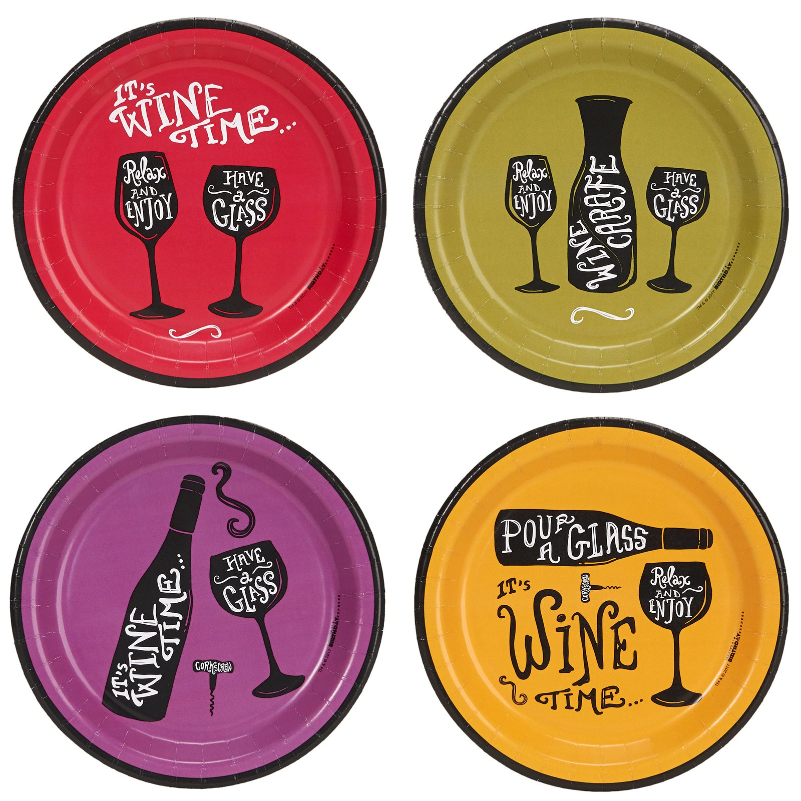 Wine Time Party Assorted Plates (32)