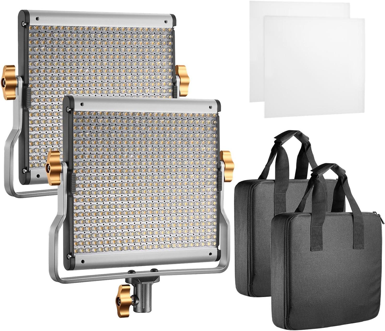 Neewer 2-Pack LED Luz Vídeo Bicolor Regulable con Soporte U Kit, para Foto Estudio Grabación de Vídeo Youtube, 480 Bombillas LED, 3200-5600K, CRI 96 (Enchufe de UE)