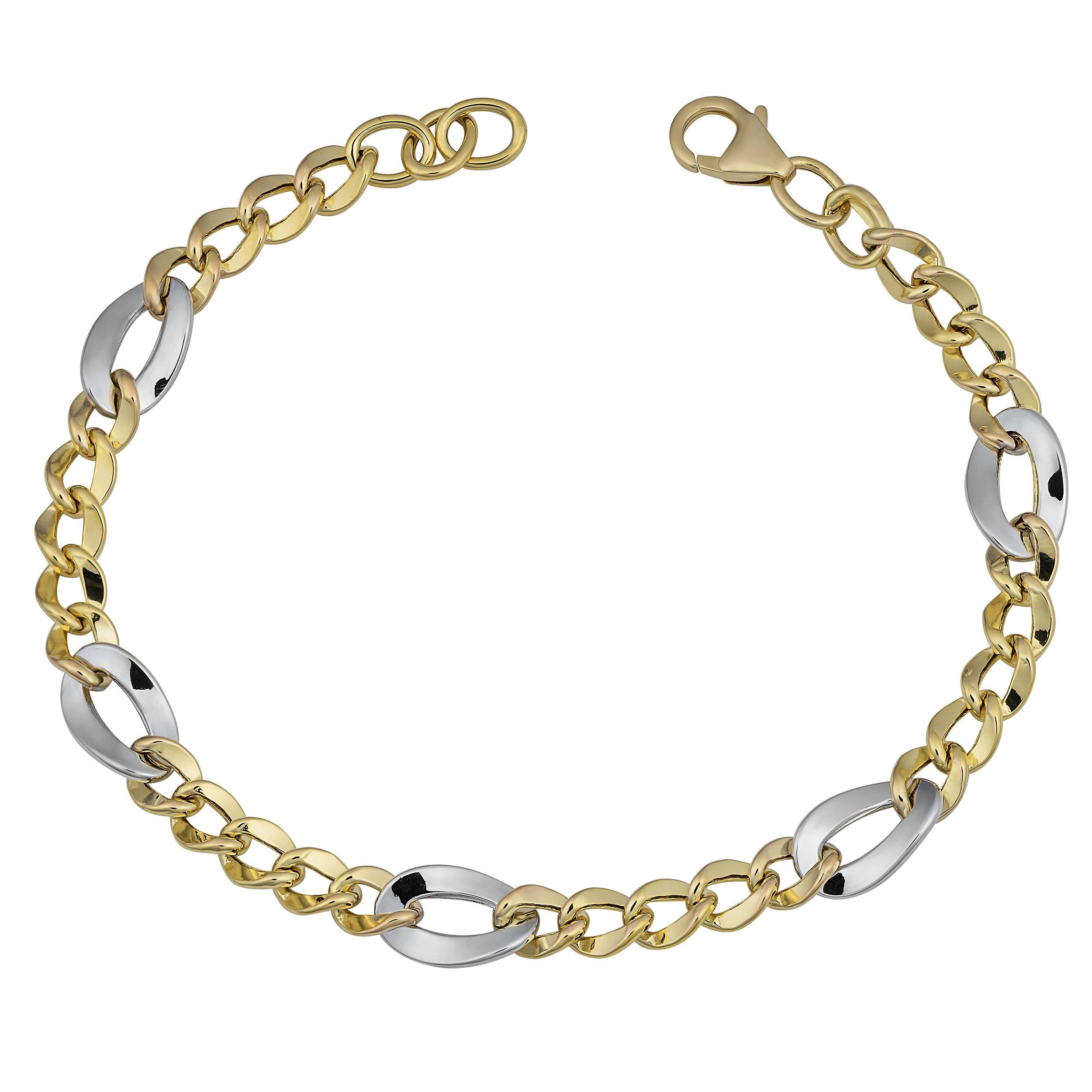 14k Two-Tone Gold Figaro Adjustable Length Bracelet (fits 7'' to 8'')