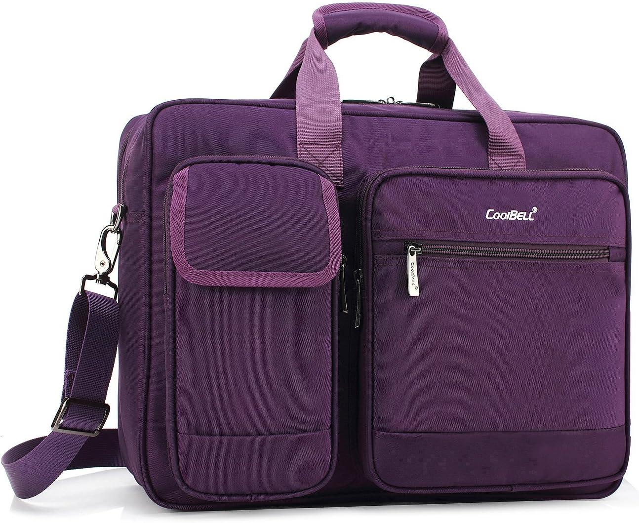 CoolBELL 15.6 Inch Laptop Briefcase Protective Messenger Bag Nylon Shoulder Bag Multi-Functional Hand Bag for Laptop/Ultrabook/Tablet/MacBook/Dell/HP/Men/Women/Business (Purple)