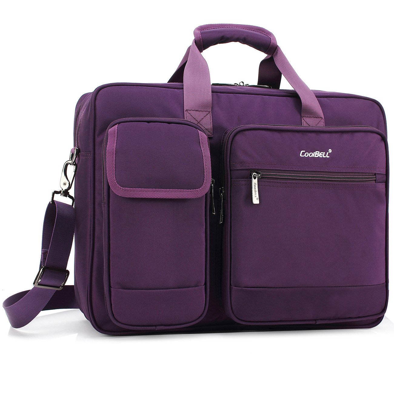 CoolBELL 17.3 Inch Laptop Briefcase Protective Messenger Bag Nylon Shoulder Bag Multi-Functional Hand Bag for Laptop/Ultrabook / Tablet/MacBook / Dell/HP / Men/Women/Business (Purple)