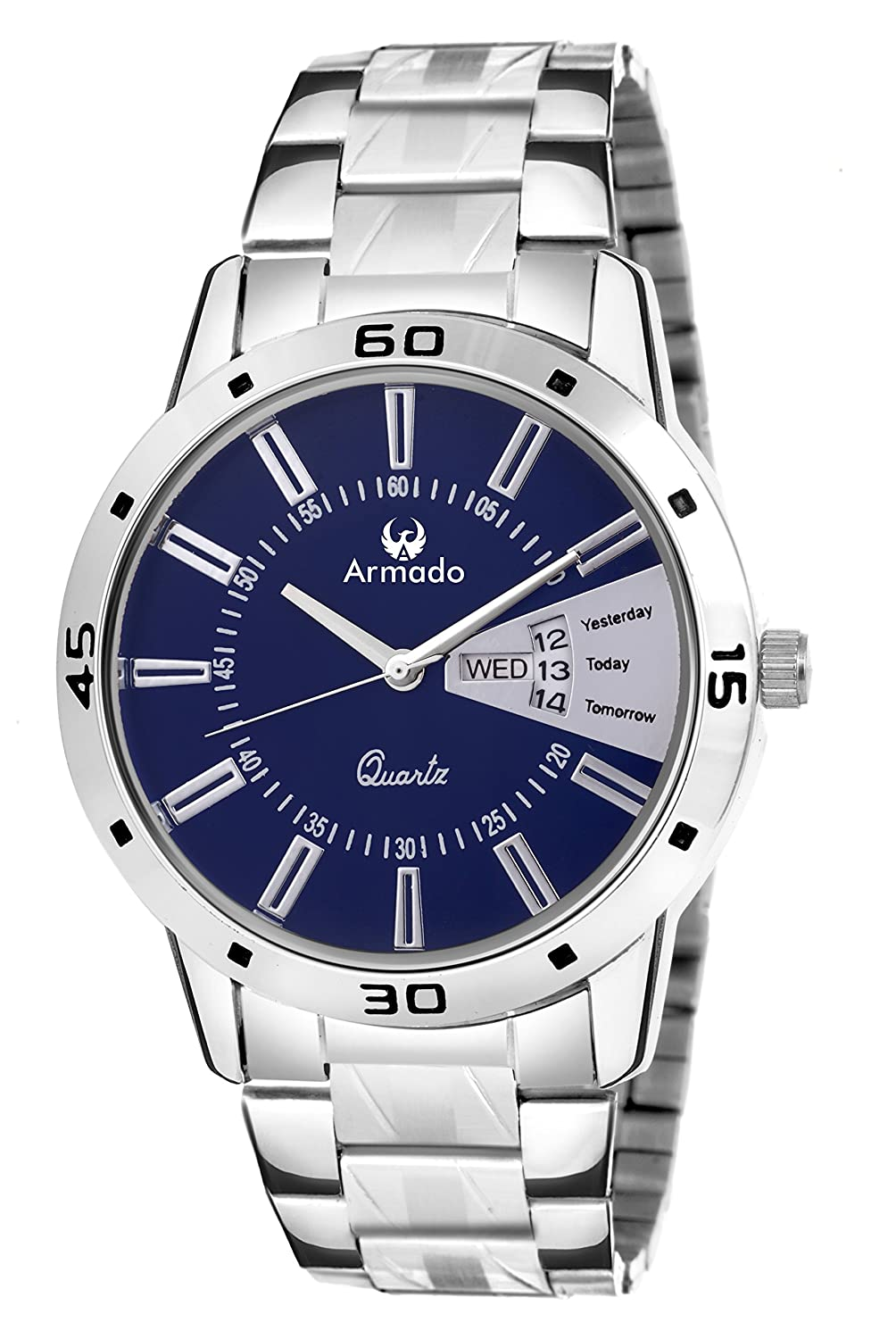 Armado AR-096 Exclusive Day & Date Display Analog Blue Dial Stainless Steel Men's Watch