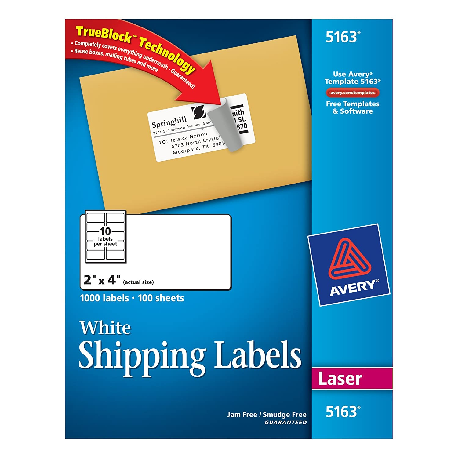amazon com avery mailing labels with trueblock technology for laser