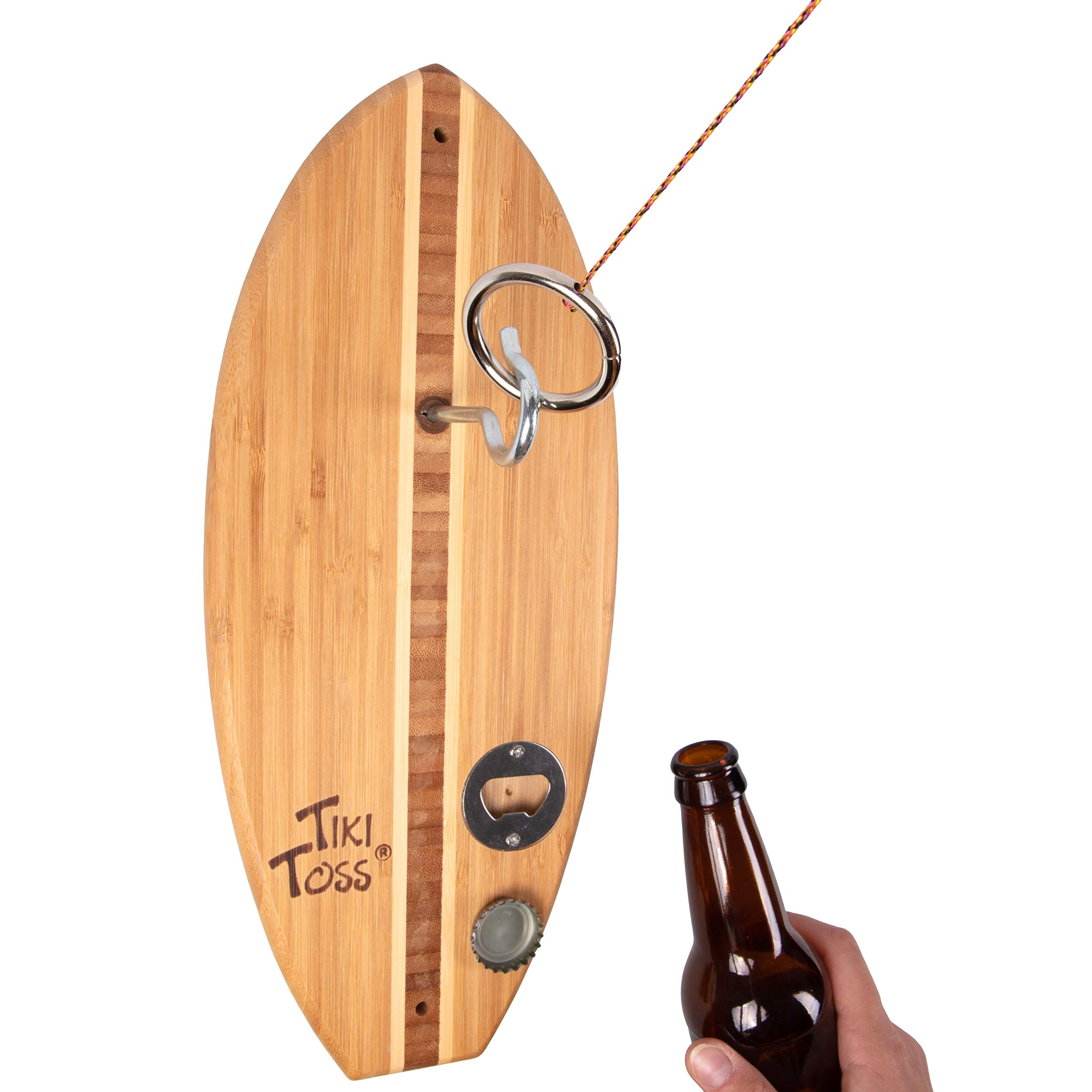 Tiki Toss Bottle Opener Edition with Magnet Cap Catch - Crack Open A Cold One and Get Hooked - 100% Bamboo Hook and Ring Toss Party Game (All Parts Included) by Tiki Toss