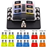 VETOMILE 6-way Fuse Box Blade Fuse Holder Screw Nut Terminal 5A 10A 15A 20A Free Fuses LED Indicator Waterpoof Cover for Automotive Car Marine Boat