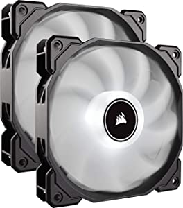 CORSAIR AF140 LED Low Noise Cooling Fan, Dual Pack - White, 140 mm (Renewed)