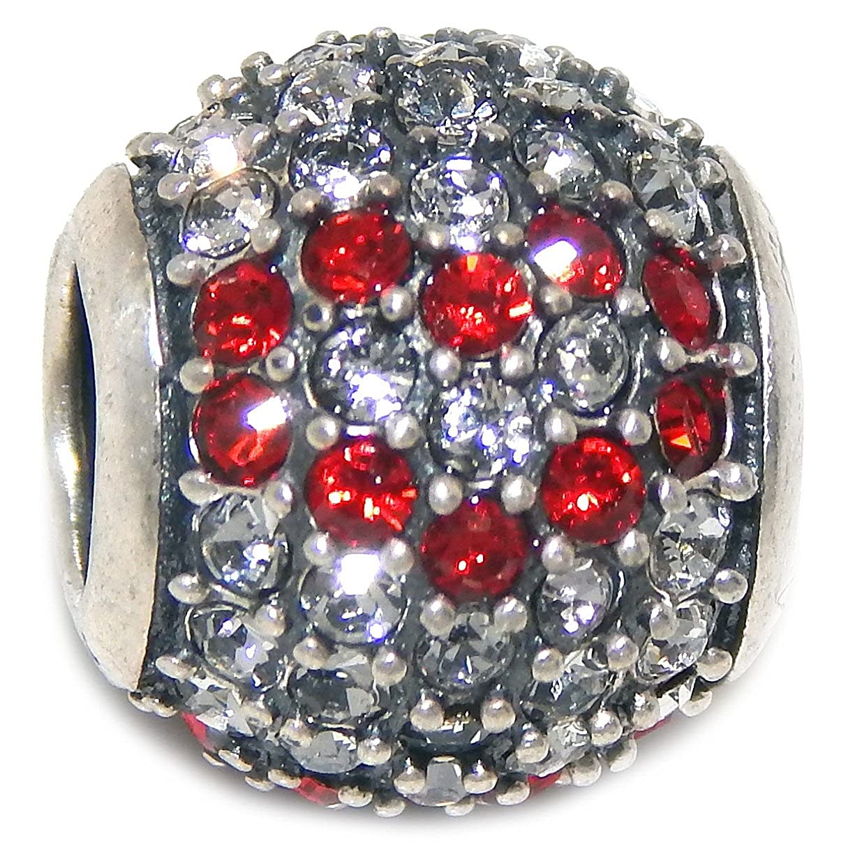Solid 925 Sterling Silver Round with Clear Crystals and Red Crystal Heart Design Charm Bead
