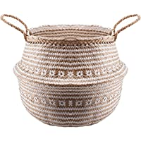 EKOGO Large Seagrass Belly Basket | White Criss Cross Pattern | Handwoven Foldable Storage Basket with Handles for Laundry, Picnic, Pot Cover, Decor | Natural, Eco-Friendly Household Items