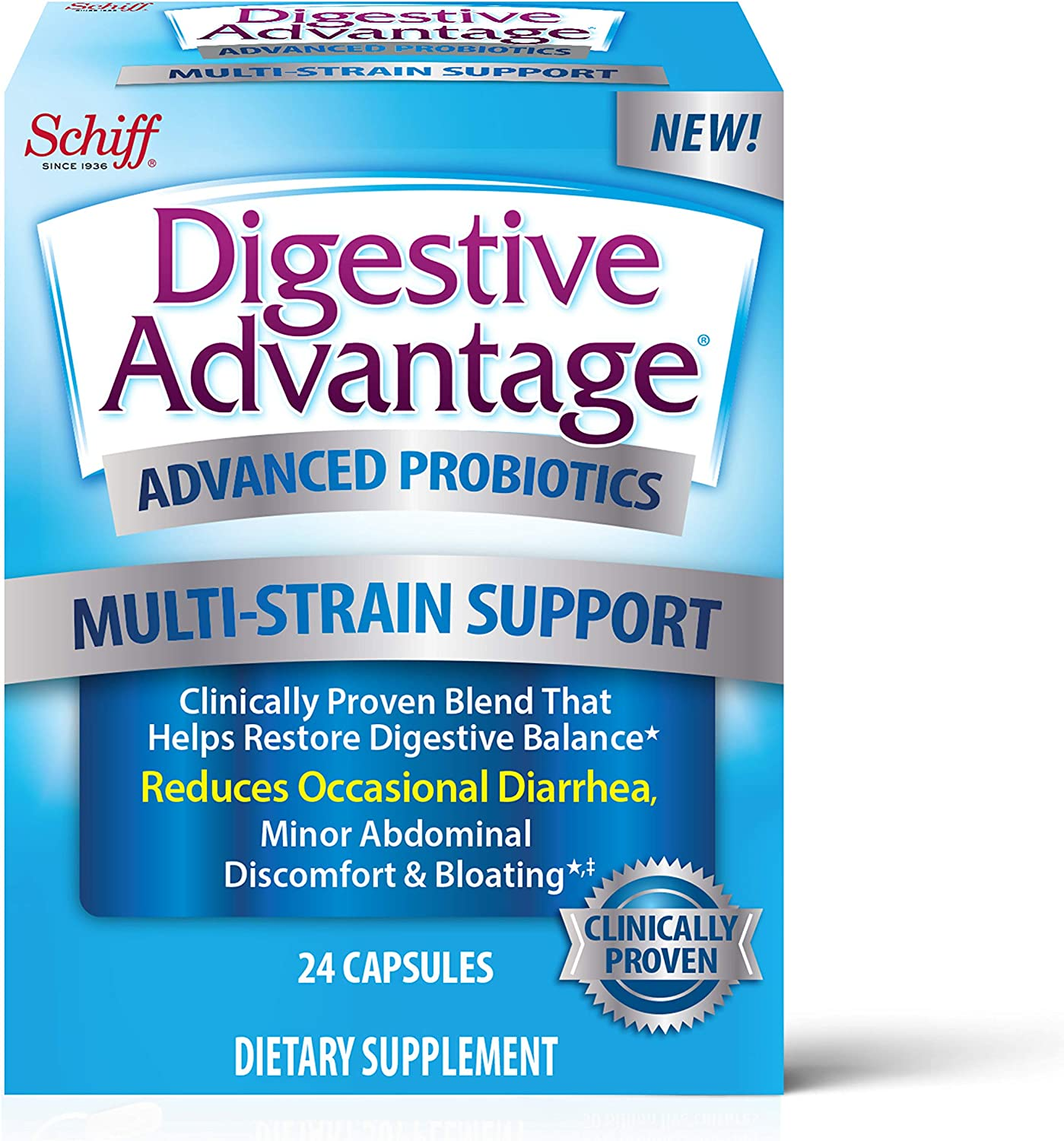 Multi-Strain Support Probiotics Capsules, Digestive Advantage Advanced (24 Count In A Box) - Clinically Proven Blend That Helps Restore Digestive Balance*, Supports Digestive & Immune Health*