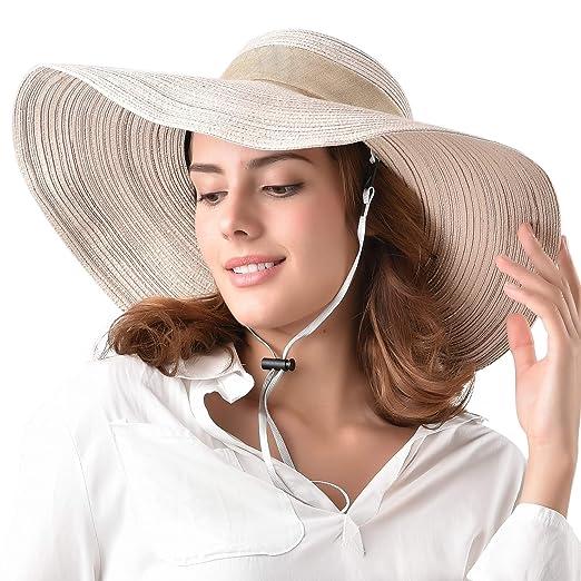 1d61292692c Wide Brim Floppy Sun Beach Hat 100% Cotton Packable Summer Hats Women