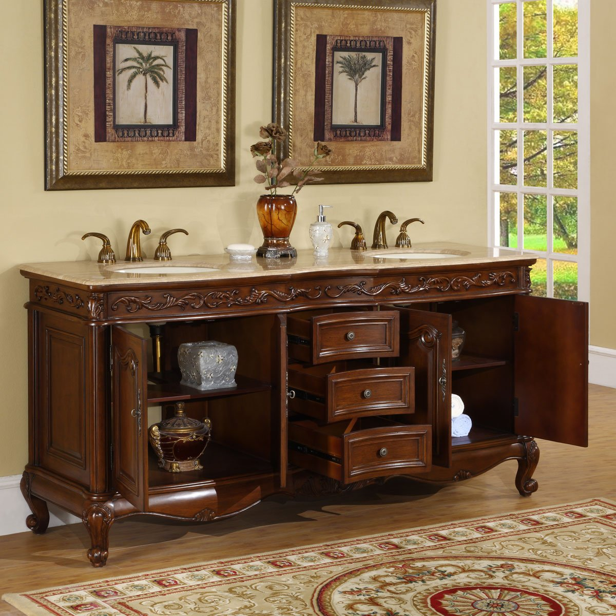 Silkroad Exclusive Travertine Stone Top Double Sink Bathroom Vanity with Bath Cabinet, 72-Inch by Silkroad Exclusive (Image #2)