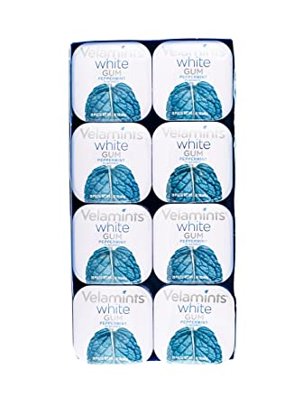 Velamints White Sugar-Free Gum 20 Piece Tin (8 pack) (Peppermint)