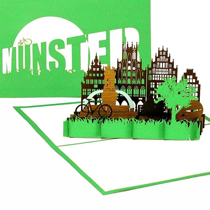 3d pop up tarjeta Münster - Tarjeta de felicitación Münster - País De Münster, tarjeta de bicicleta, viaje, de cupones Ciudades Trip & bicicleta Tour ...