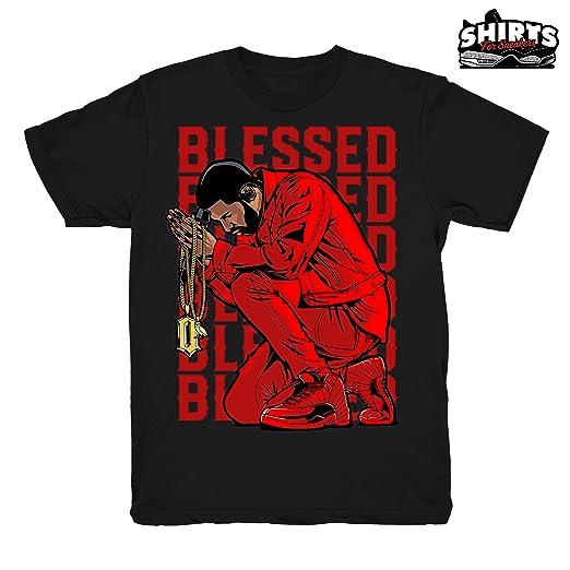 3649fac66c14a1 Gym Red 12 Drake Blessed Shirt to Match Jordan 12 Gym Sneakers Black t- Shirts